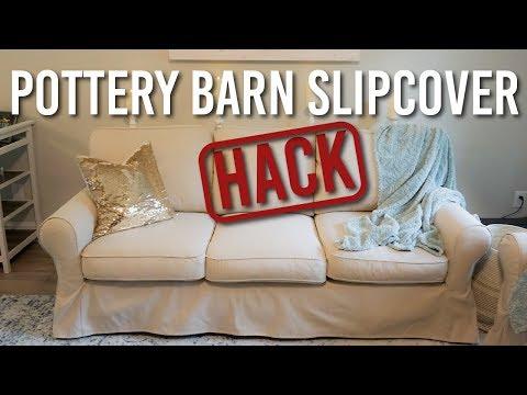Using Inexpensive Ikea Slipcovers For My Pottery Barn Sofa