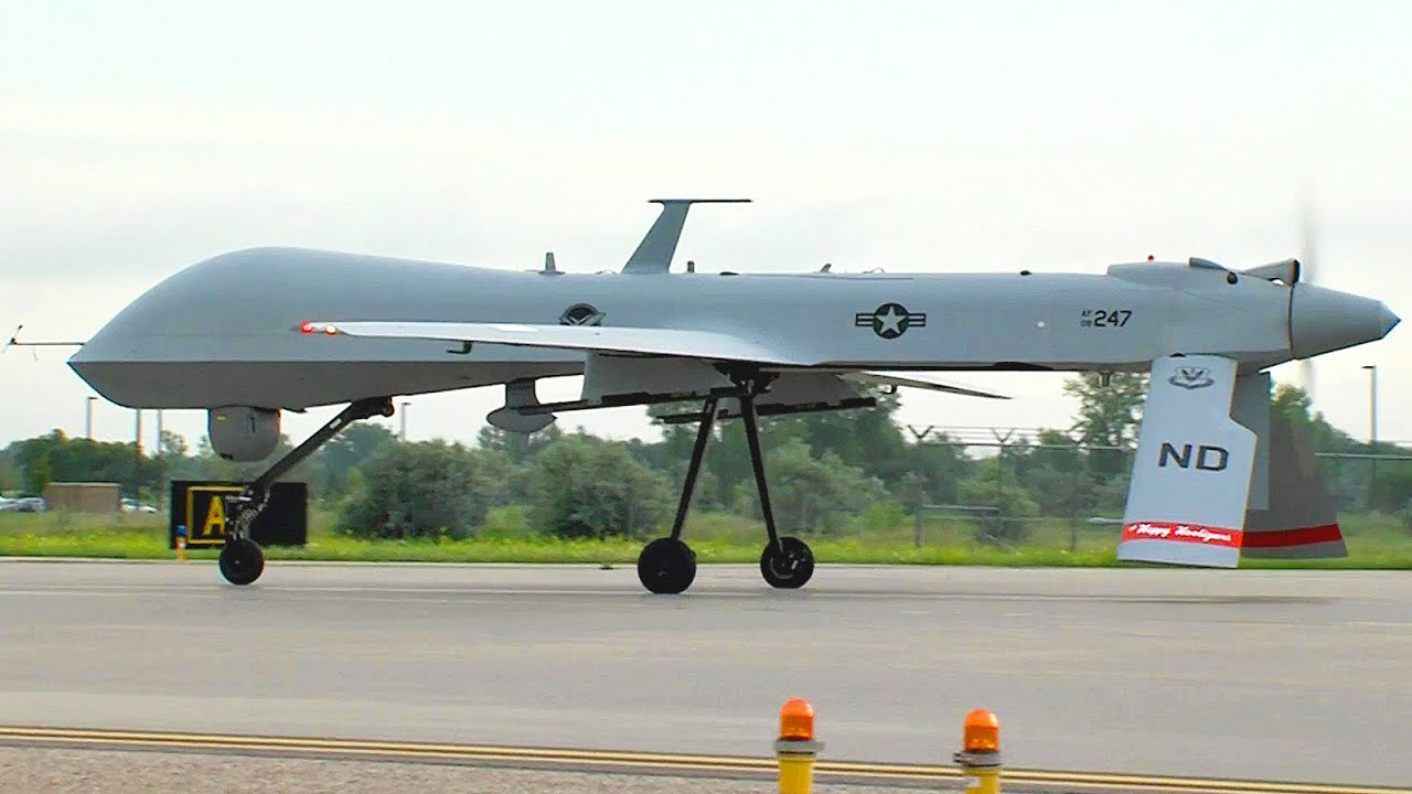 US MIlitarys Eye In The Sky MQ 1 Predator Drone Takeoff And Land