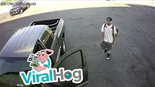 Auto Shop Owner Risks Life to Try Stopping Truck Thief || ViralHog