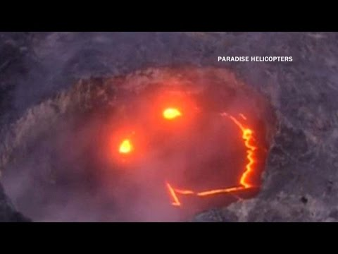 Lava Forms Smiley Face In Volcano