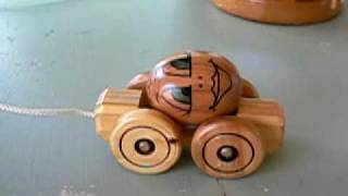 Handmade wooden pull-along toy from the Fairy Ring