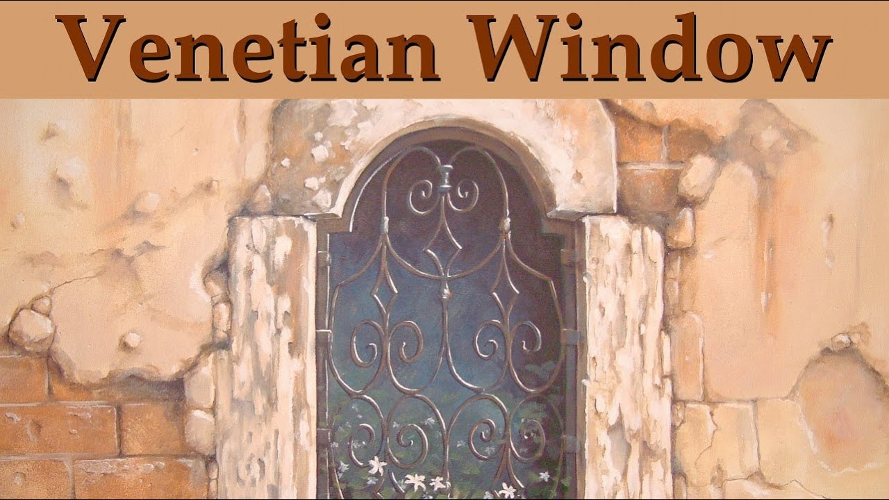 Murals trompe l 39 oeil venetian window youtube - Sticker trompe l oeil mural ...