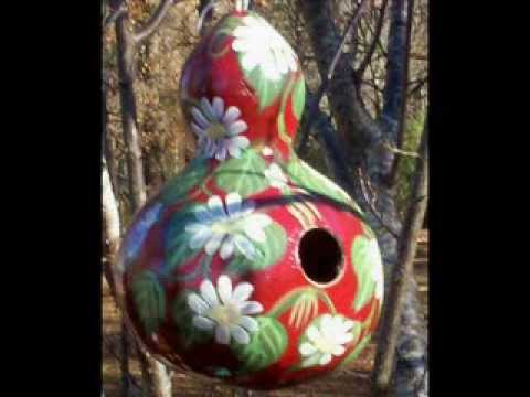 Decorative Ideas For Hand Painting Gourd Birdhouses