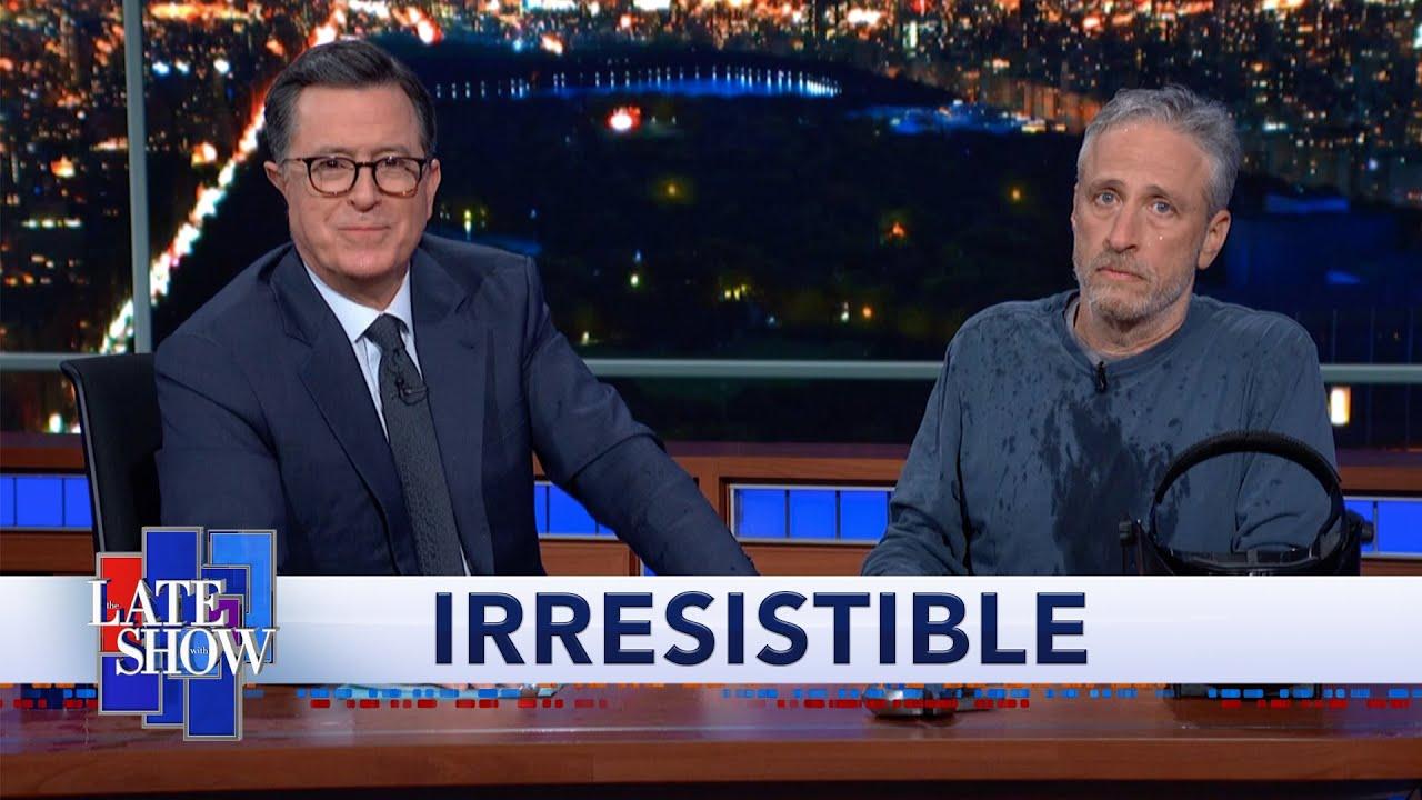 Jon Stewart And Stephen Colbert Share An Awkward Moment On ...