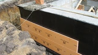 видео Утепление фундамента дома снаружи пенополистиролом, пеноплексом, как утеплить