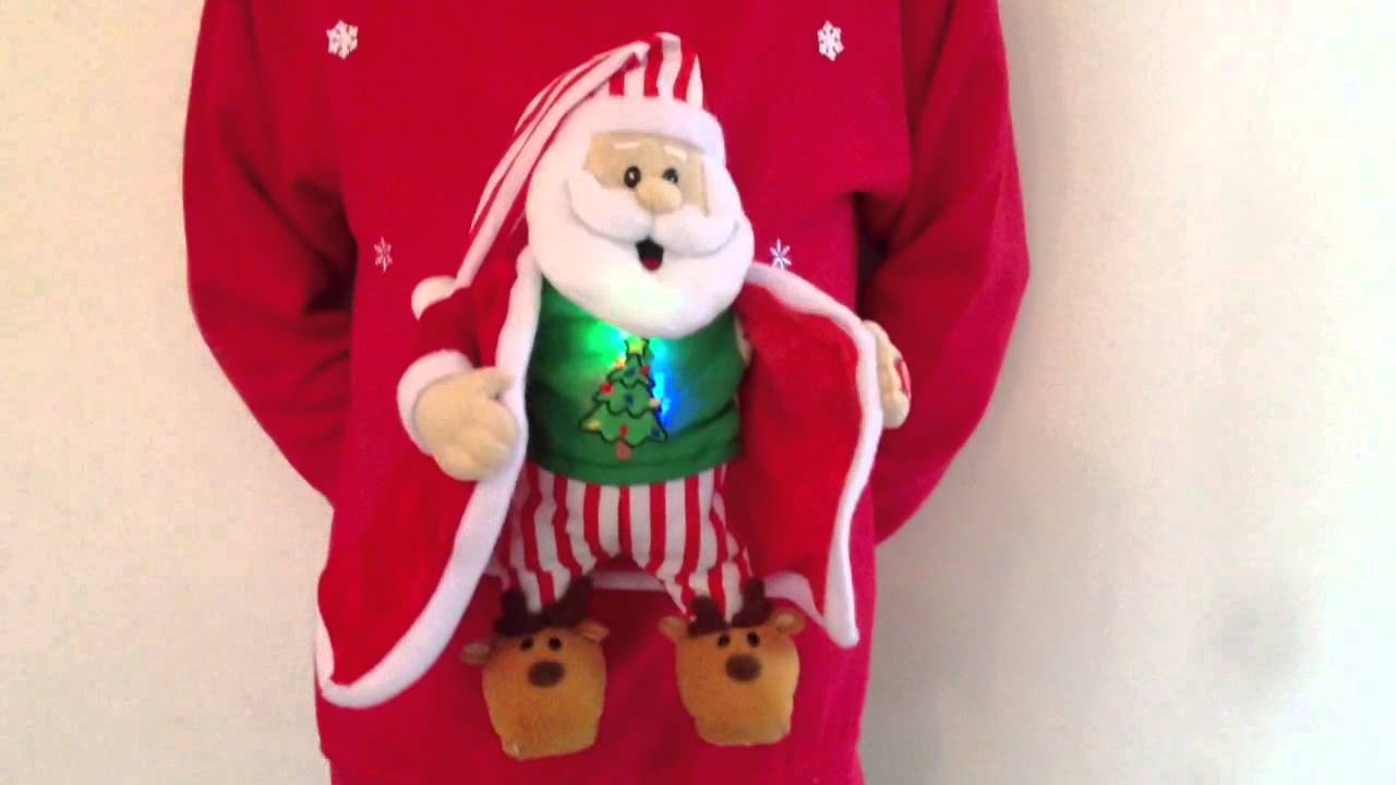 Christmas Jumper musical Flashing Santa - YouTube