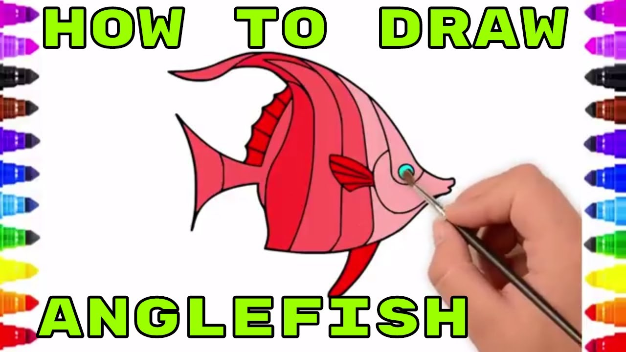 How to Draw Angle Fish for kids│Draw Sea Animals│Learn to Draw ...