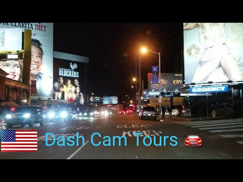Dash Cam Tours - Night Driving Tour of Beverly Hills & West Hollywood, California, USA.  No music