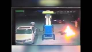 Two wheeler fire at petrol station see wat happens!!!!!