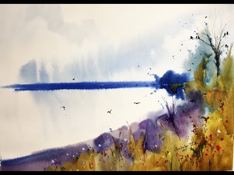 """""""Blue skyline"""" Watercolor professional painting"""