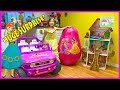 Huge Disney Princess Egg Surprise Toys w/ Biggest Belle Castle Toy & Ride On Car!
