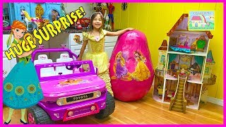Huge Disney Princess Egg Surprise Toys w/ Biggest Belle Castle Toy & Ride On Car!