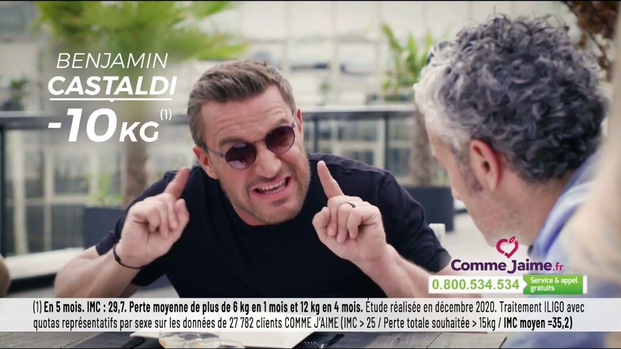"""Musique de la pub Comme jaime – Benjamin Castaldi """"venez calculer gratuitement votre imc sur commejaime.fr""""  Juin 2021"""