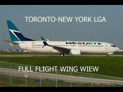 FSX HD B737 WESTJET Toronto To New York LGA Full Flight Passenger Wing View