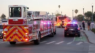 Fire Trucks Responding Code-3 to a MOTORCYCLE CRASH!