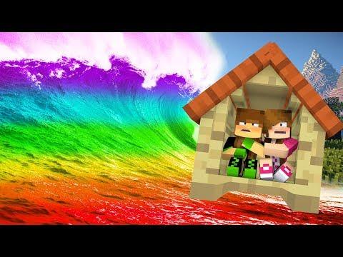 Minecraft: DESAFIO DA BASE 100% PROTEGIDA CONTRA TSUNAMI DE ARCO-ÍRIS! (TSUNAMI BASE CHALLENGE!)