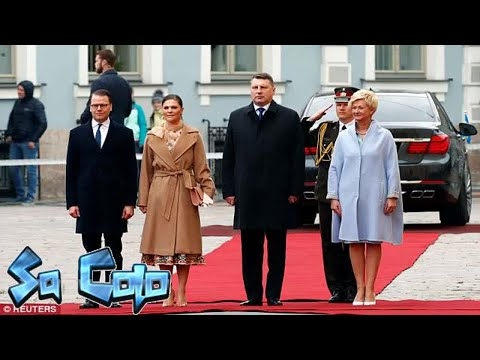 Sweden's Crown Princess Victoria and Prince Daniel arrive in Latvia