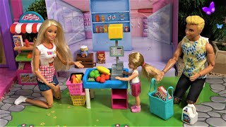 Barbie Dream House Story with Barbie and Ken Shopping at New Chelsea Little Grocery Store