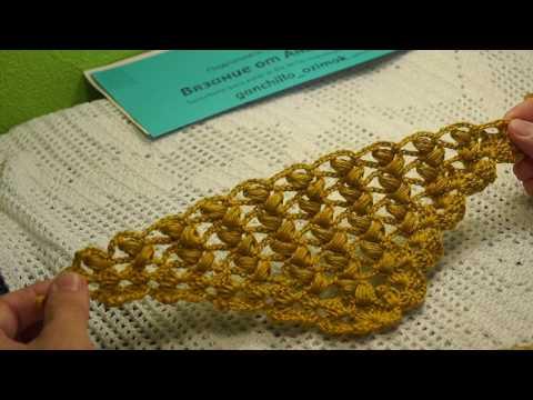 """Очень КРАСИВЫЙ узор для шали """"Горчица"""",вязание крючком,crochet Shawl (Шаль № 146)"""