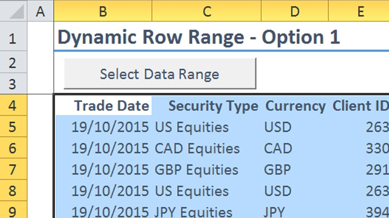 Excel VBA Dynamic Row Ranges
