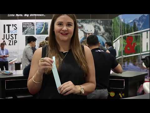 Julia Broder introduces products from YKK's VISLON® product line at Outdoor Retailer