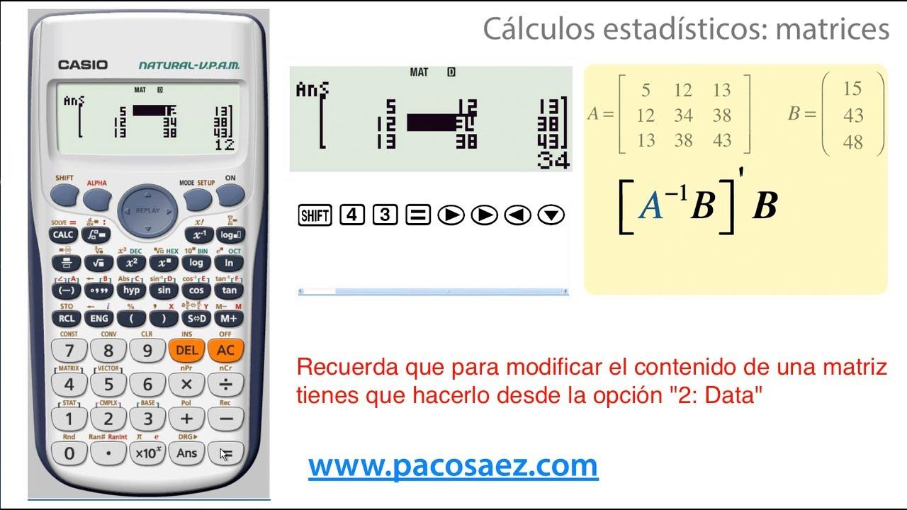 fca630805aca Matrices en las calculadoras Casio FX-570ES PLUS y Casio FX-991ES PLUS