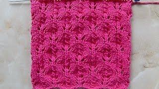 Ажурный узор 2  Вязание спицами Видеоурок 160