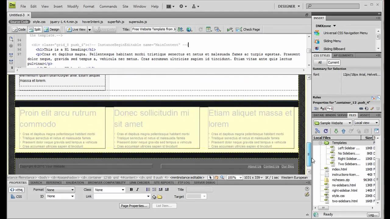 Creating New HTML Files from Dreamweaver Templates - JustDreamweaver ...