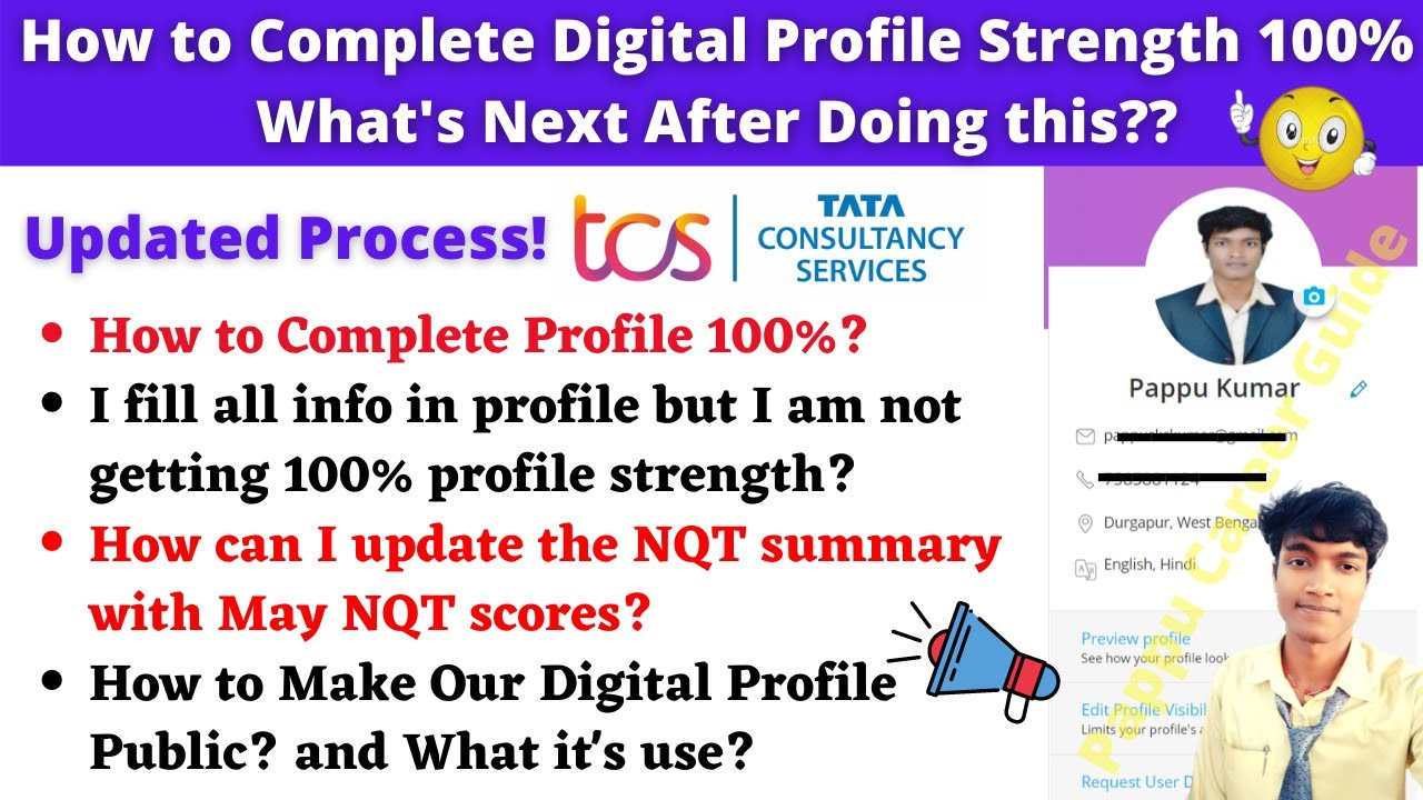 Tcs Nqt 2021 How To Update Digital Profile Strength 100 In Tcs Ion Apply Jobs Using Tcs Nqt Score Youtube