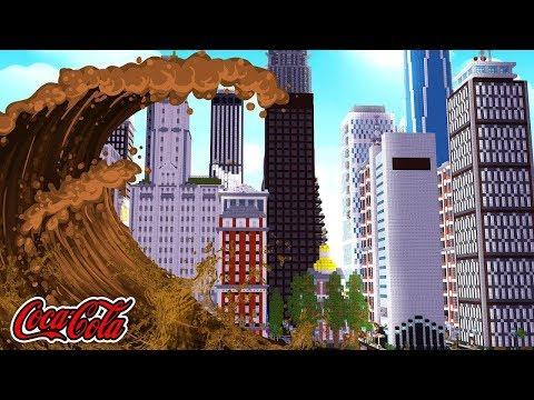 COCA COLA TSUNAMI VS CITY CHALLENGE! - Minecraft Tsunami Mod