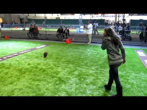 NFL Experience - Super Bowl XLVI - My sister making a Field Goal