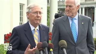 Senate Majority Leader McConnell speaks on GOP health care bill outside White House