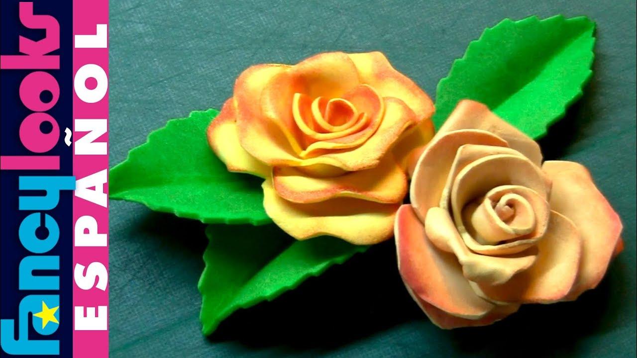 Estampando en goma eva experimento 2 rosas youtube - Flores de goma eva ...