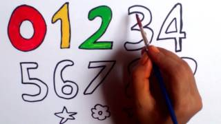 How To Draw Numbers From 0 To 9 For Kids  Teaching drawing & coloring numbers.