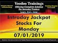 Intraday Jackpot Stocks For Monday - 07/01/2019