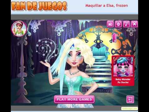 un juego de frozen, maquillar a elsa frozen - youtube
