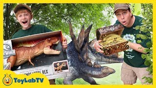 Dinosaur Toy Treasure Hunt! Surprise Jurassic World Fallen Kingdom Toys & Super Colossal T-Rex