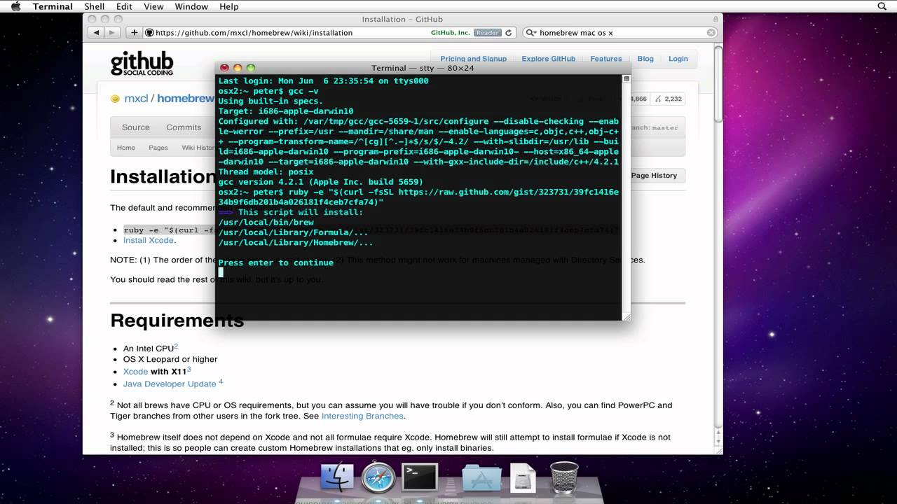 How to Install Homebrew on Mac OS X 10 6 (Snow Leopard)