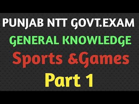 Punjab NTT Govt.Exam 2021||General Knowledge||Sports &Games||NTT Exam Preparation 2021||G.K 2021||
