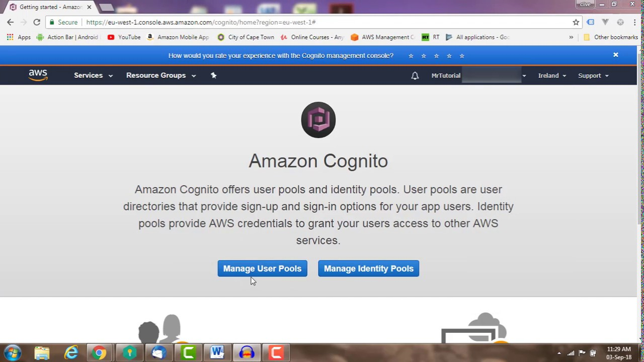 AWS Cognito: How to create a User Pool