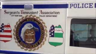CITY OF NEW YORK SERGEANTS BENEVOLENT ASSOCIATION POLICE TRUCK NEAR WEST BROADWAY IN MANHATTAN, NYC.