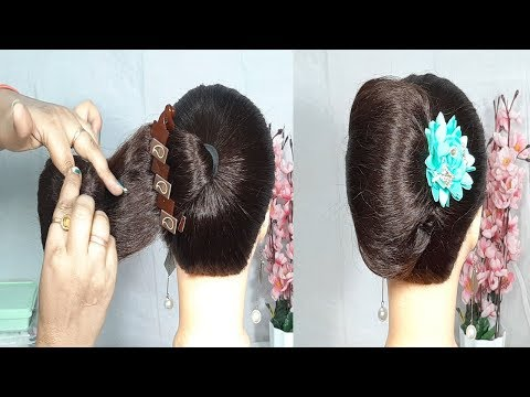 new-french-roll-hairstyle-using-banana-clutcher-|-french-twist-|-french-bun-|-easy-hairstyles