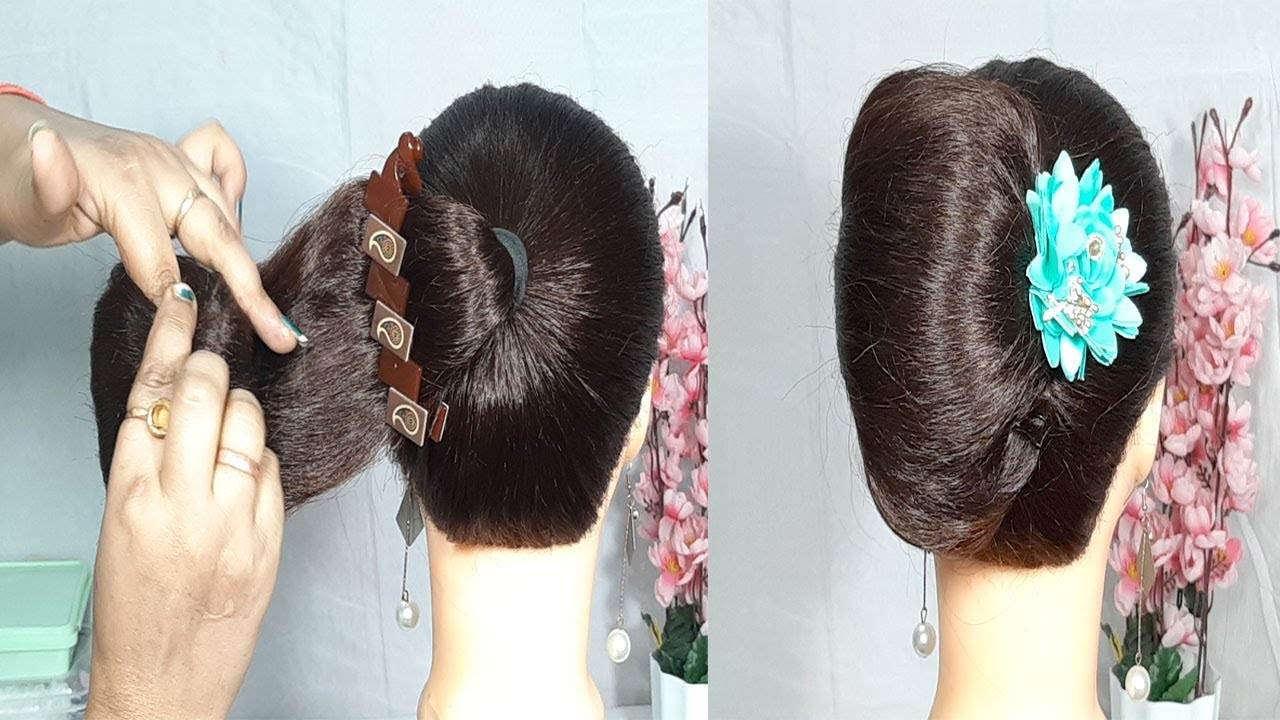 New french roll hairstyle using banana clutcher | french twist | french bun | easy hairstyles ...