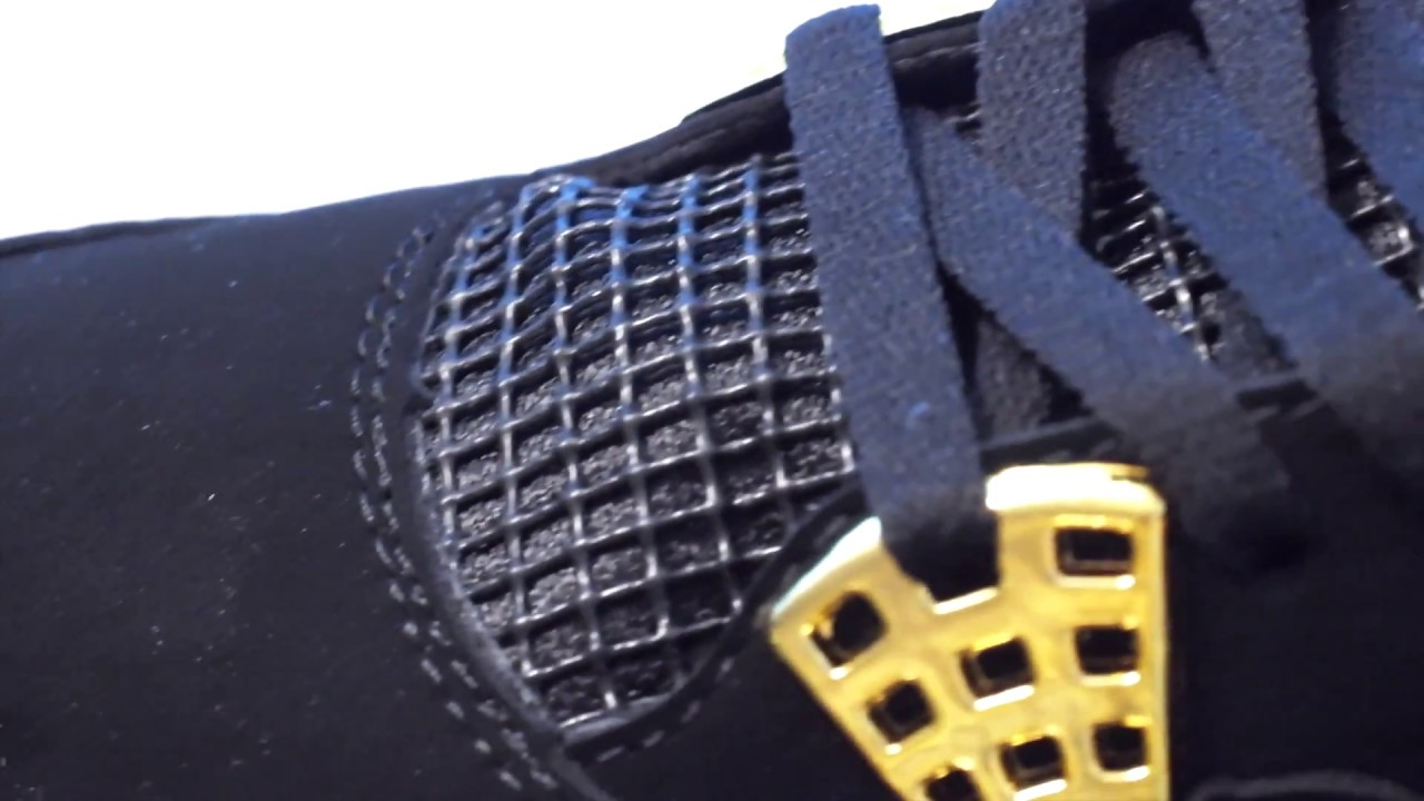 7d63eab3c7a Fake Nike Jordans Retro 4 Royalty Black and Gold Low Quality Shoes