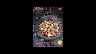 Фазан тушеный в казане с овощами,рецепт фазана в казане
