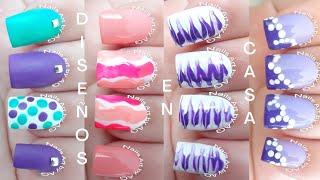 4 Diseños de uñas para principiantes // Fáciles y Rápido// Nuevas tendencias de Nails Art