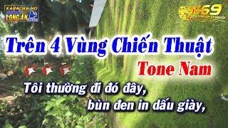 Karaoke Trên 4 Vùng Chiến Thuật   Tone Nam   Nhạc sống TRÀ VINH   Beat Long Ẩn 9669