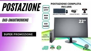 """POSTAZIONE COMPLETA SMARTWORKING LENOVO M93p CORE I5 4570T 8GB SSD 240GB + MONITOR 22""""  W10 Video"""