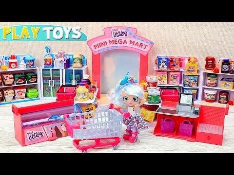 Chrissy Doll Grocery Shopping at Shopkins Real Littles Mini Mega Mart
