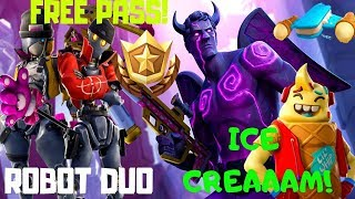 Fortnite-ice cream, Robot Duo, FREE Battle Pass!! V. 7.40!